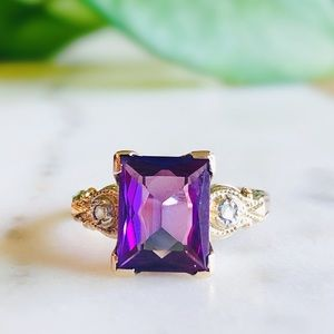 Jewelry - Estate 10K Yellow Gold Amethyst Cocktail Ring
